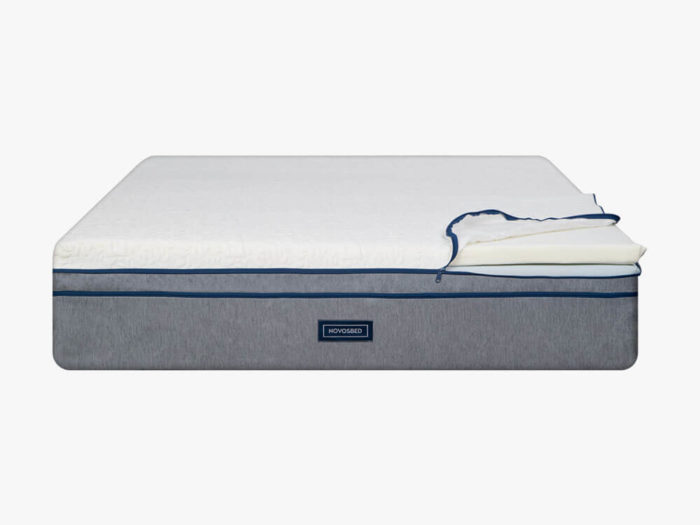 Image of the Novosbed premium memory foam mattress with Comfort+ kit on a white backdrop as seen from the front.